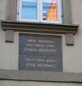 11 pav. Adomo Mickevičiaus memorialinė lenta