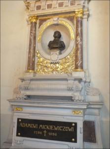 12 pav. Adomo Mickevičiaus paminklinis biustas Šv. Jonų bažnyčioje