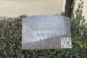 15 pav. Adomo Mickevičiaus kiemo paminklinė lenta