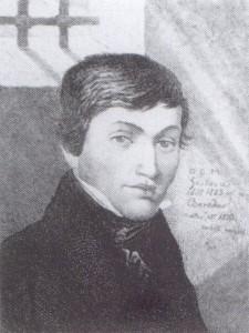30 pav. Adomas Mickevičius bazilijonų celėje. Bronislavo Zaleskio akvarelė